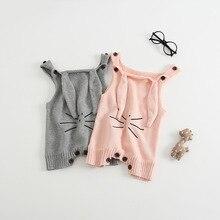 Neue Frühling Antumn Kaninchen Ohren Stricken Baby Strampler Weicher Baumwolle Overall Neugeborenen Niedlichen Säugling Kleidung Baby Mädchen Kleidung Pullover