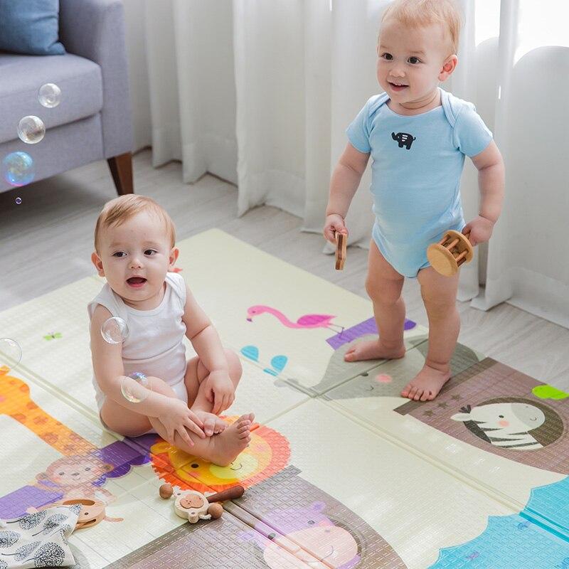 Bébé jouer sol en jouant pliable XDE mousse de bande dessinée épaissie 120*180*0.6 cm double surfaces ramper tapis sur vente mat012