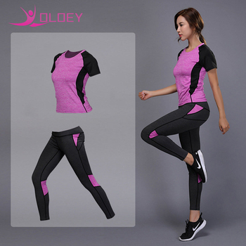 OLOEY 2 Pieces Women Yoga Set Fitness Gym Clothes Running