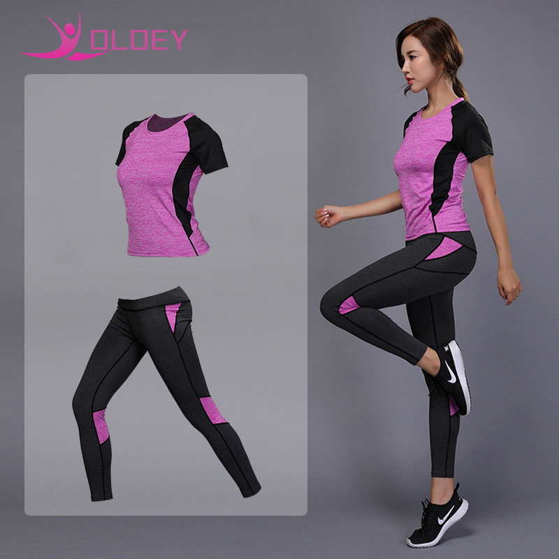 OLOEY Women's sportswear Yoga Set Fitness Gym Clothes Running Tennis Shirt+Pants Yoga Leggings Jogging Workout Sport Suit
