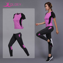 OLOEY Women's sportswear Yoga Set Fitness Gym Clothes Running Tennis Shirt+Pants Yoga Leggings Jogging Workout Sport Suit(China)