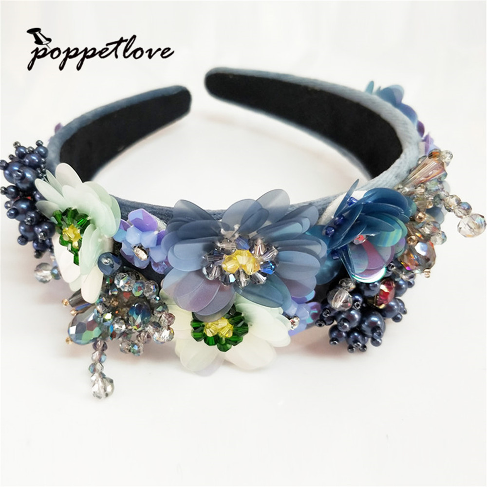 Austria Crystal Headbands Luxury Flowers beaded Hairbands Girl Grade Bridal Rhinestone Hair Accessory Headwear Mother Gift