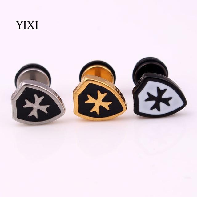 Yixi Brand 2017 Viking Stud Earrings For Men Women Cross Shield Fashion Jewelry Stainless Steel Small