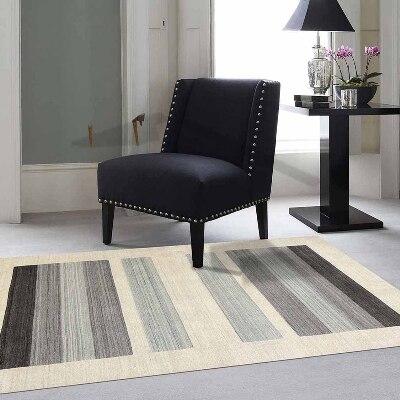 Else Cream Black Gray Border Lines Geometric 3d Print Non Slip Microfiber Living Room Decorative Modern Washable Area Rug Mat