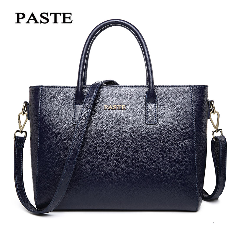 PASTE 2017 Fashion Genuine Leather Tote shoulder crossbody Women Handbags Bags Business Messenger Bags Office Lady Briefcase genuine leather fashion women handbags bucket tote crossbody bags embossing flowers cowhide lady messenger shoulder bags
