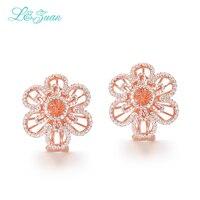 L&zuan Erendy Sterling Silver Jewelry Plated Rose Gold Earrings 2.26ct Flower Stone Clip On Earrings For Women