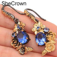 Sublime Antique Vintage Style Created Rich Blue Violet Tanzanite Flower Gift For Sister Silver Earrings 42x16mm