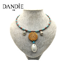 Dandie Coconut Shell Summer New Fashion Trendy Handmade Straw Necklace Rattan Plaited Articles