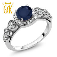 1 32 Ct Round Blue Sapphire 925 Sterling Silver Ring