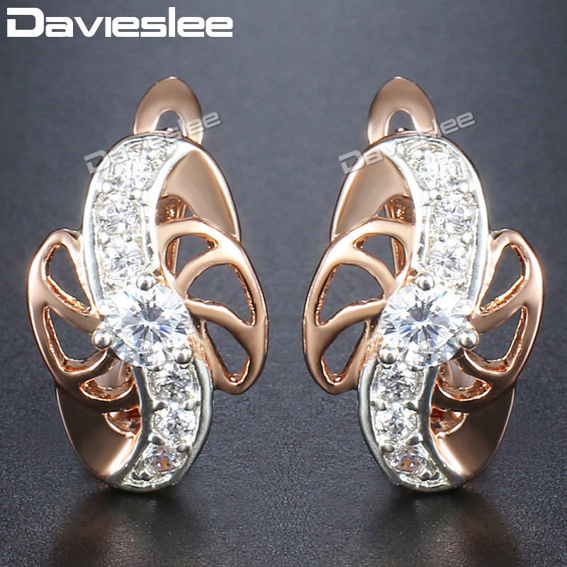 Davieslee Flower Round Clear CZ Dangle Earrings for Women Paved Clear Cubic Zirconia 585 Rose Gold Filled DGE102
