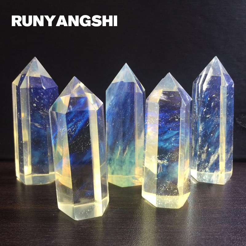 Yellow Crystal Single Tip Crystal Pillar Tanslucent Colorful Refining Stone and Minerals Wholesale Factory Stone Runyangshi ZH29 in Stones from Home Garden