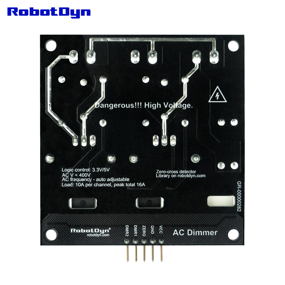 AC Light Dimmer Module, 2 Channel, 3.3V/5V logic, AC 50/60hz, 220V/110V