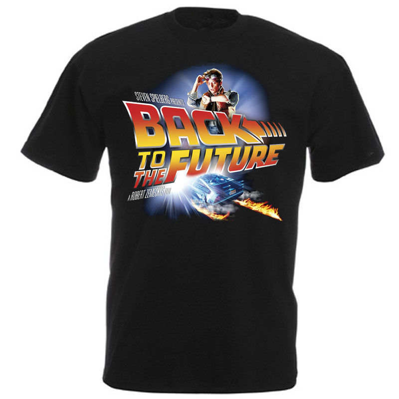 2018 New T Shirts Print Back To The Future Movie Poster Crew Neck Short-Sleeve Mens Tee