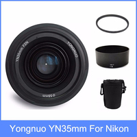 Yongnuo yn35 YN35mm F2 lens Wide angle Large Aperture Fixed Auto Focus Lens + Lens Hood +lens bag + 58mm UV filter For Nikon