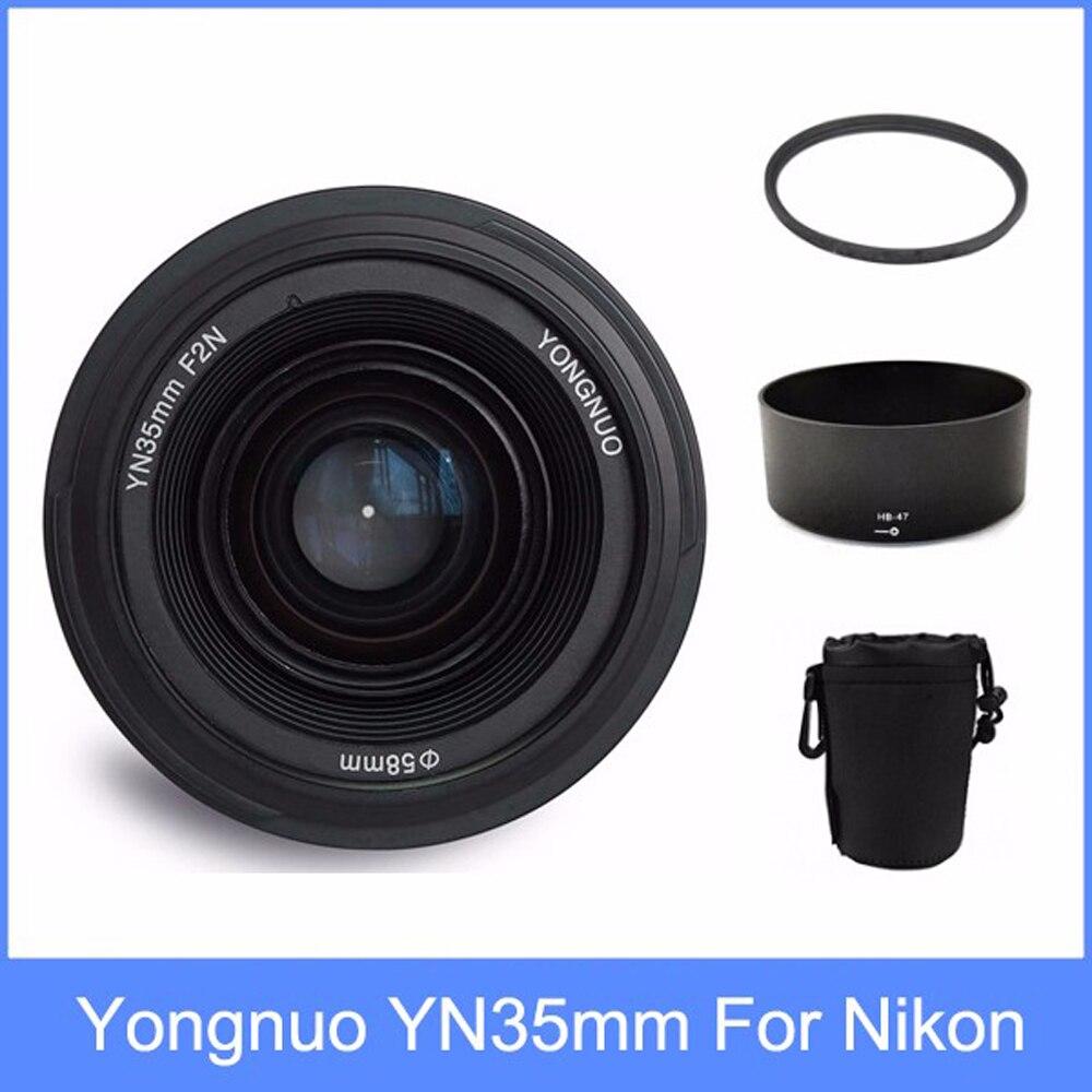 Yongnuo yn35 YN35mm F2 lente de ángulo amplio de gran apertura fijo de enfoque de la lente + lente capucha + bolsa de lente + 58mm UV filtro para Nikon