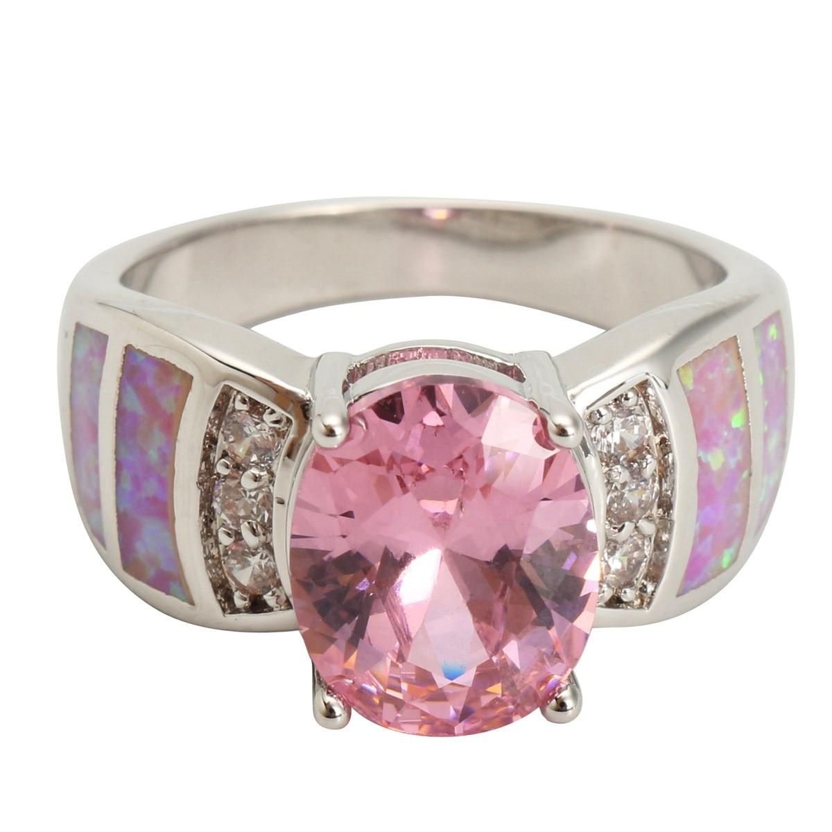Size 6/7/8/9 Jewelry CZ Women Wedding Pink Blue Gem Opal Rings For ...