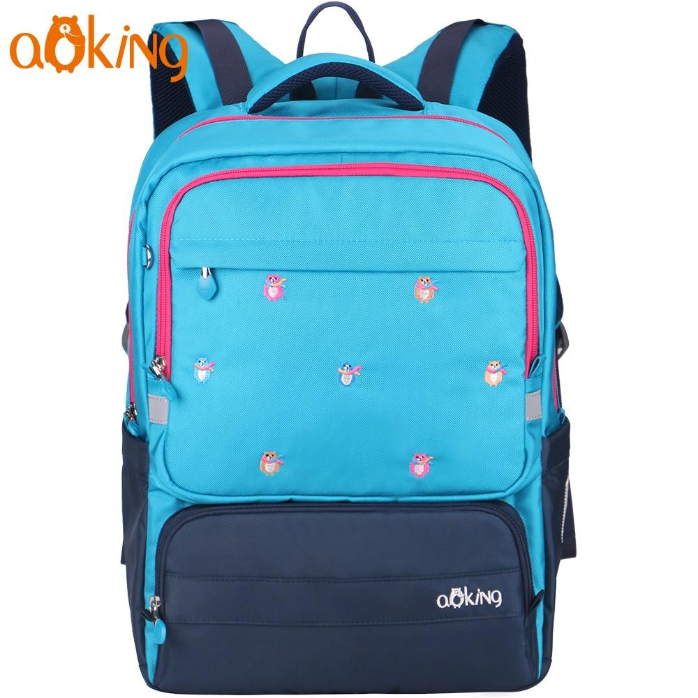 Aoking легкий детей милый школьный рюкзак для мальчика и Обувь для девочек нейлон Водонепроницаемый Повседневное Вышивка рюкзак мультфильм