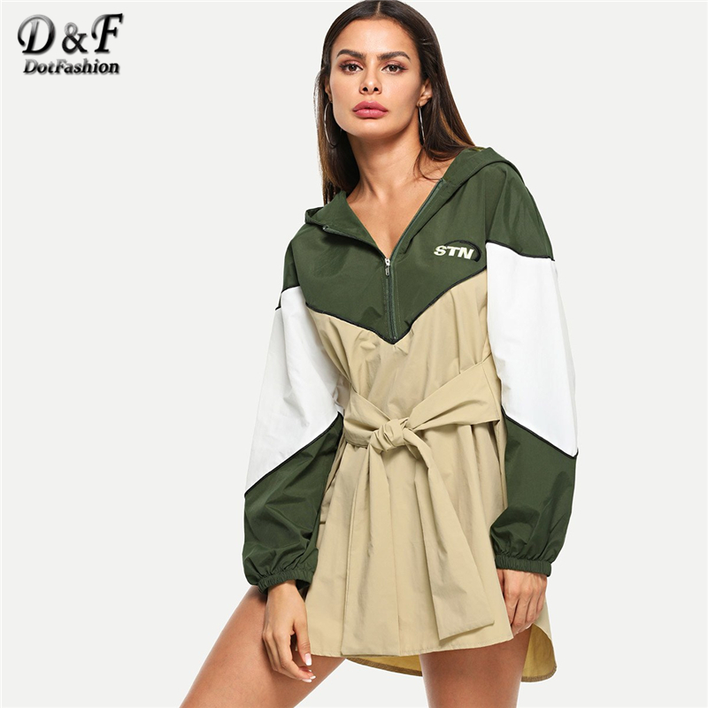 143169ec7f Dotfashion Color Block Hooded Summer Dress Women Casual Long Sleeve New  Arrival Clothing Ladies Multicolor Shift