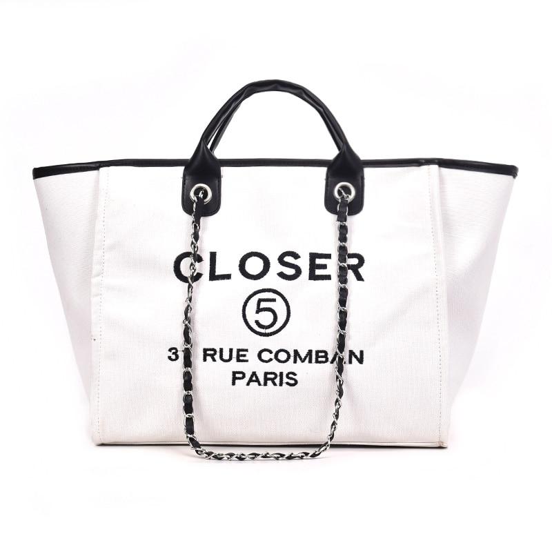 8000ec2044d 2018 New Arrival Canvas Vintage Chain Embroidery Letter Big Casual Totes  Women Handbag Female Shoulder Bags Messenger Bags