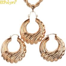 Women Jewelry Hoop-Earrings African Pendant-Sets Nigerian Gold-Color Ethlyn Big Wedding