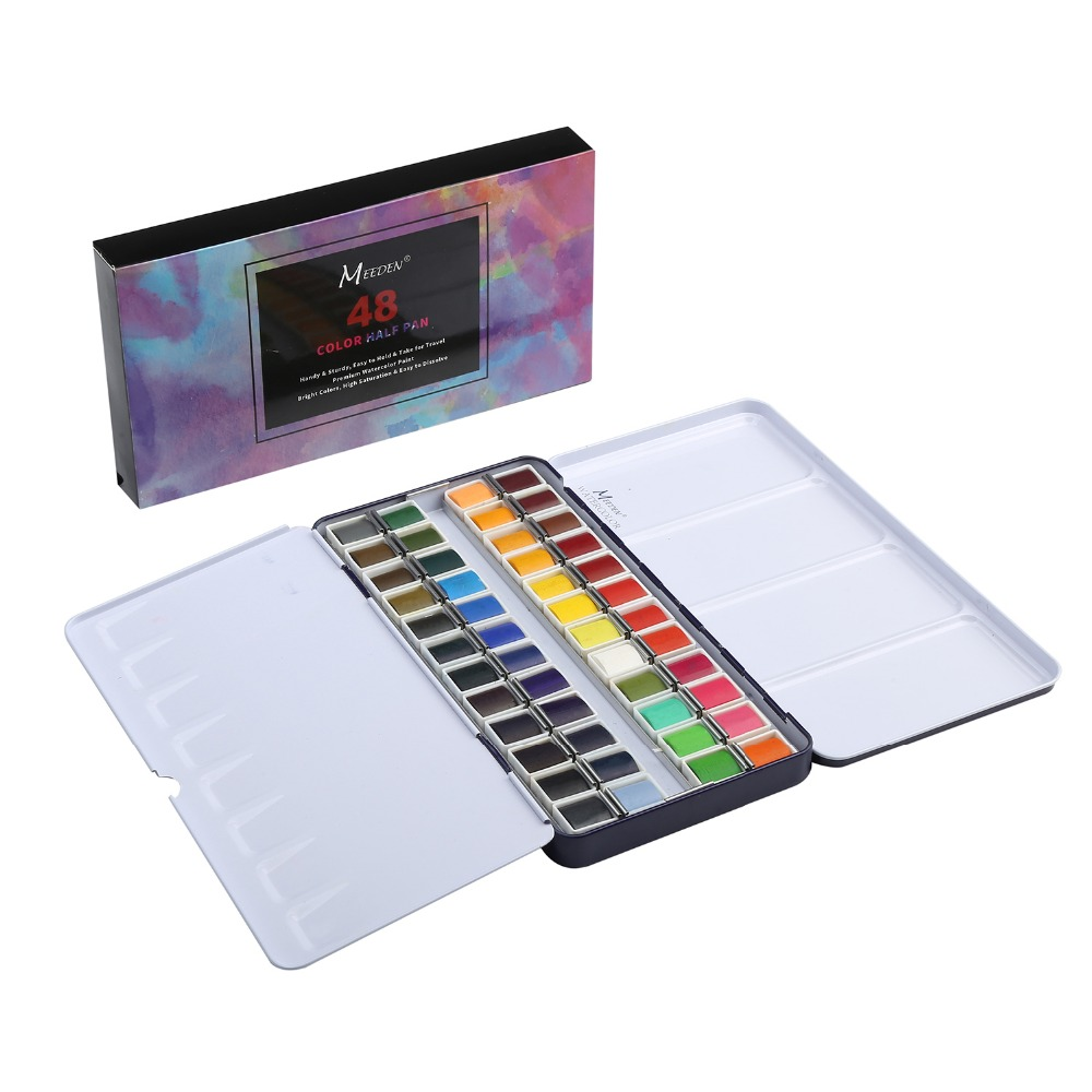 MEEDEN Art Watercolor Tin Palette Paint Set with 48 Colors Half Pan Paints Portable Watercolor Paint Set for Field Sketch