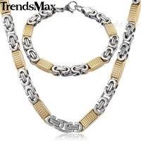 Zestaw biżuterii Trendsmax 8mm mężczyzna naszyjnik łańcuch złoty kolor Tone płaski bizantyjski Link naszyjnik ze stali nierdzewnej zestaw bransoletek KS167 w Zestawy biżuterii od Biżuteria i akcesoria na