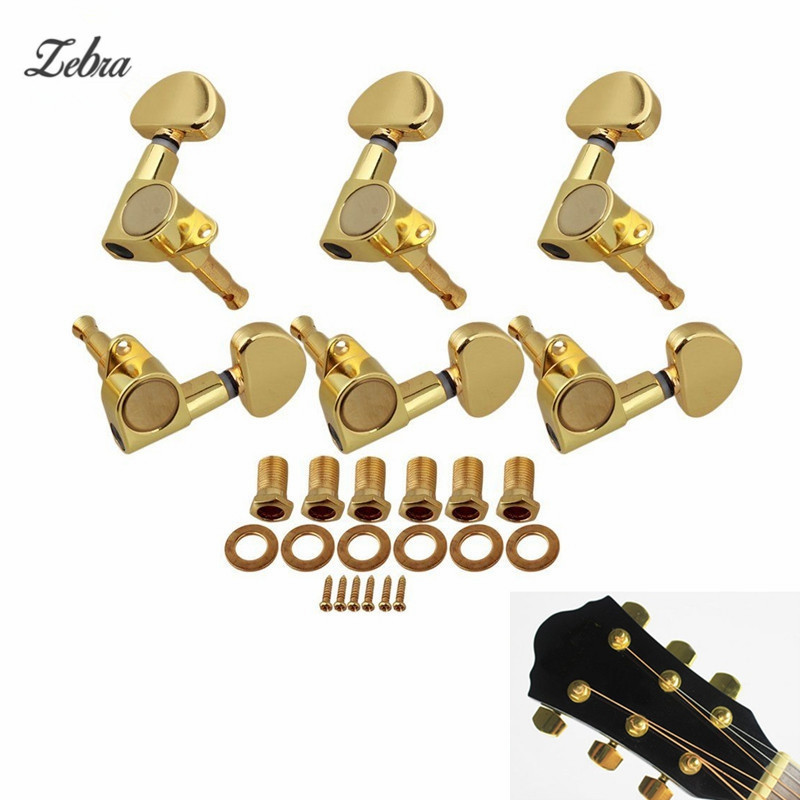 Zebra 3R3L Guitar String Tuning Peg Guitar Machine Heads Tuners Semicircle Button for Electric Acoustic Guitar Parts Accessories free shipping new electric guitar jade tuning peg in gold guitar button wj44 n22