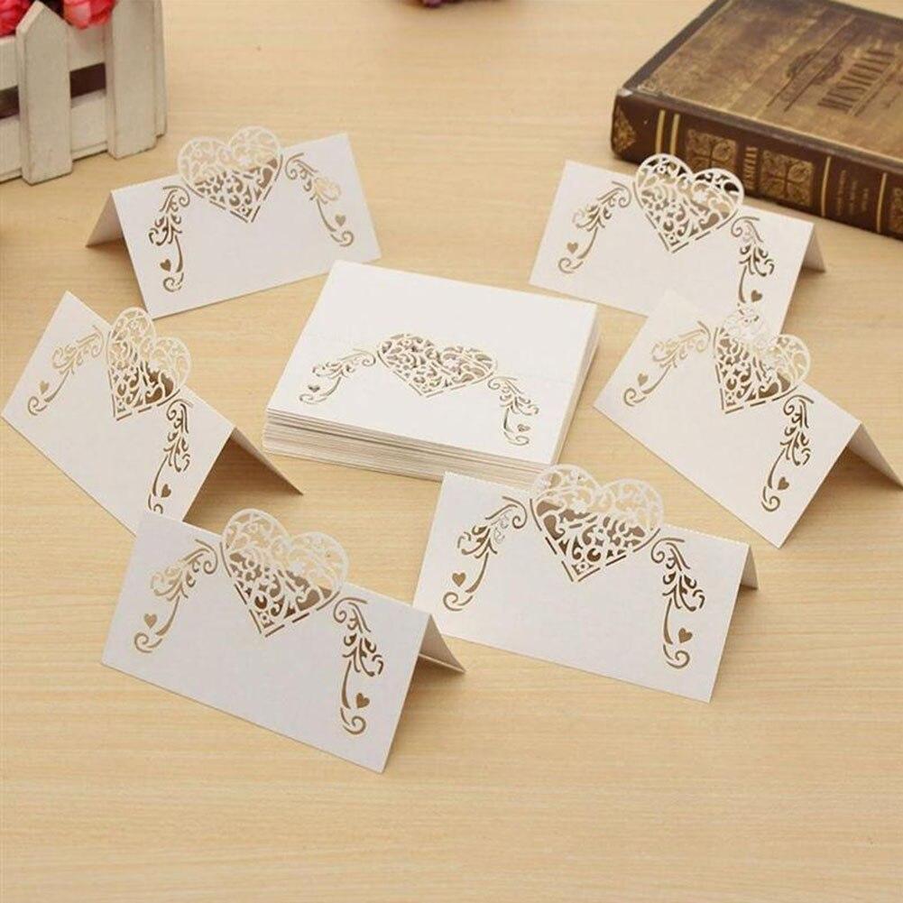 50Pcs/Set! Laser Cut Heart Shape Table Card Place Card Wedding Party Decoration Favor White 2017 New Arrival Simple Name Card