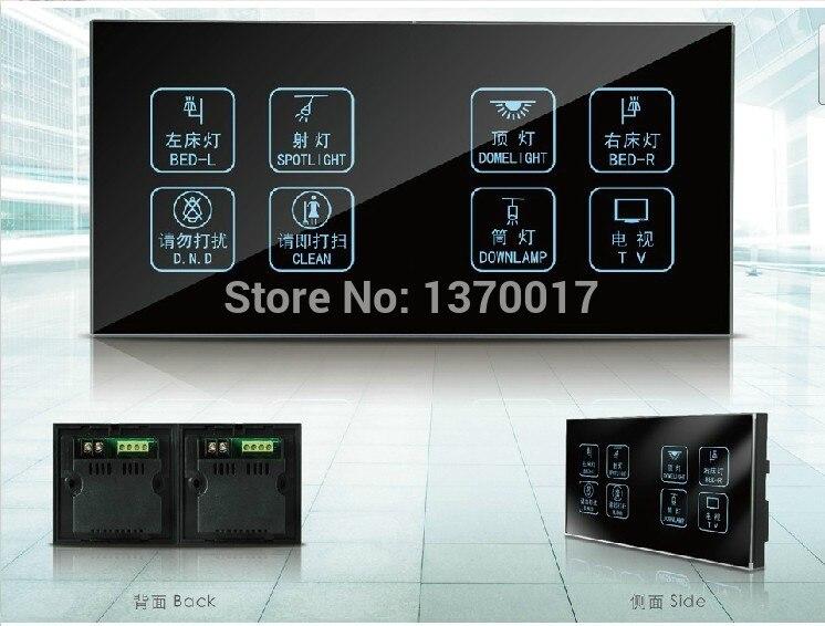 Commutateur de commande d'écran tactile de commutateur d'hôtel de 8 voies 1 voie, commutateur en verre léger de mur LED 110 V ~ 250 V le client personnalisent la livraison gratuite
