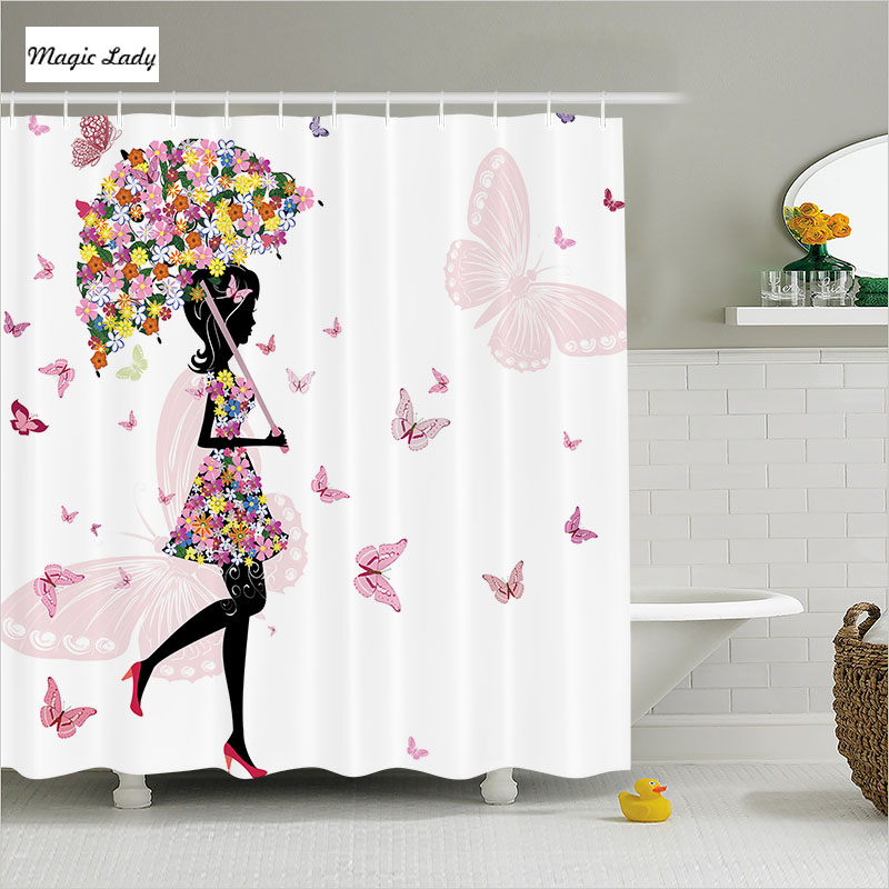 Shower Curtain Butterfly Bathroom Accessories Girl Floral Umbrella