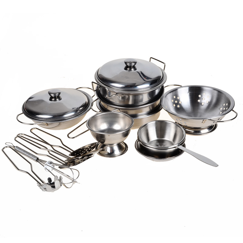 Brilliant Wholesale Stainless Steel Pots And Pans Pretend Play Toy Kitchen Set For Kids 16Pcs Cookware Miniature Toys For Children Home Interior And Landscaping Staixmapetitesourisinfo
