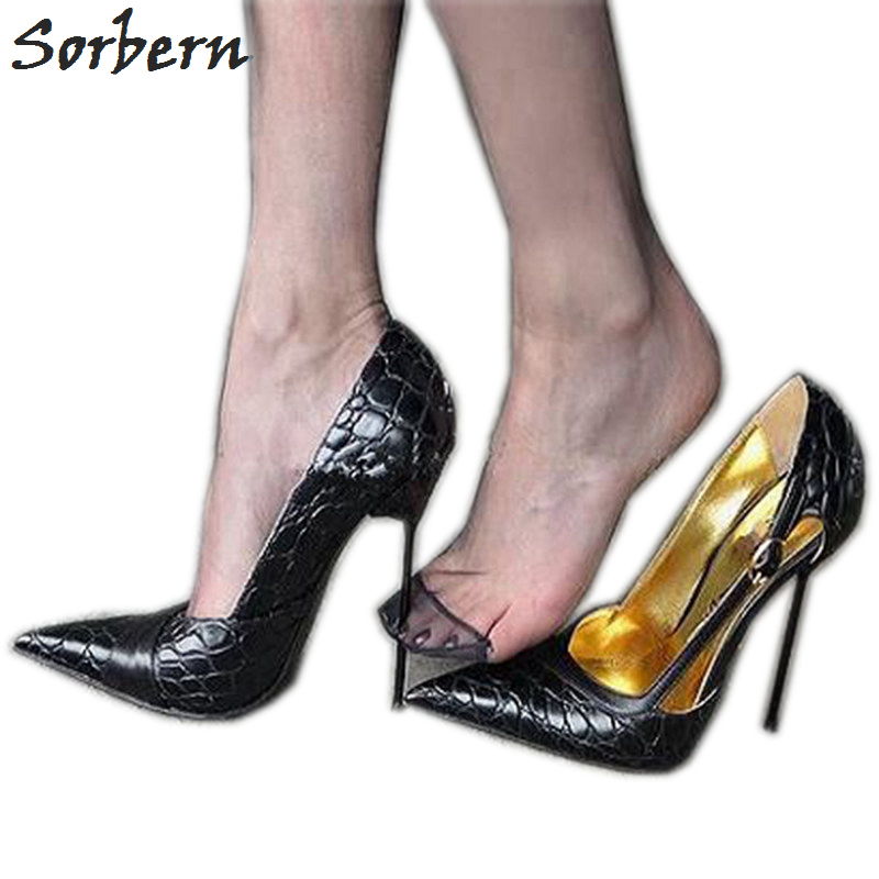 Sorbern Transsexuals Pointed Toe Slip On Women Pumps High Heel Thin Metal Heels Cross Dressing Shoes