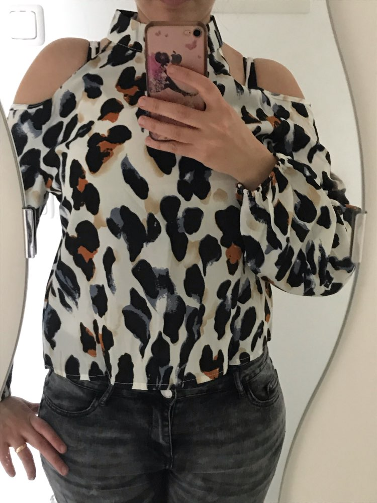Cold Shoulder Leopard Print Blouse Women Shirts Spring Korean Fashion Long Sleeve Shirt Elegant Office Ladies Tops photo review