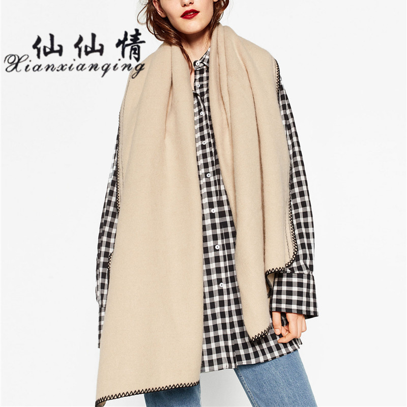 XIANXIANQING Solid Fake Cashmere Winter Scarf Luxury Brand Sewing Thread Women Scarves White Cachecol Ponchos And Capes AL11550
