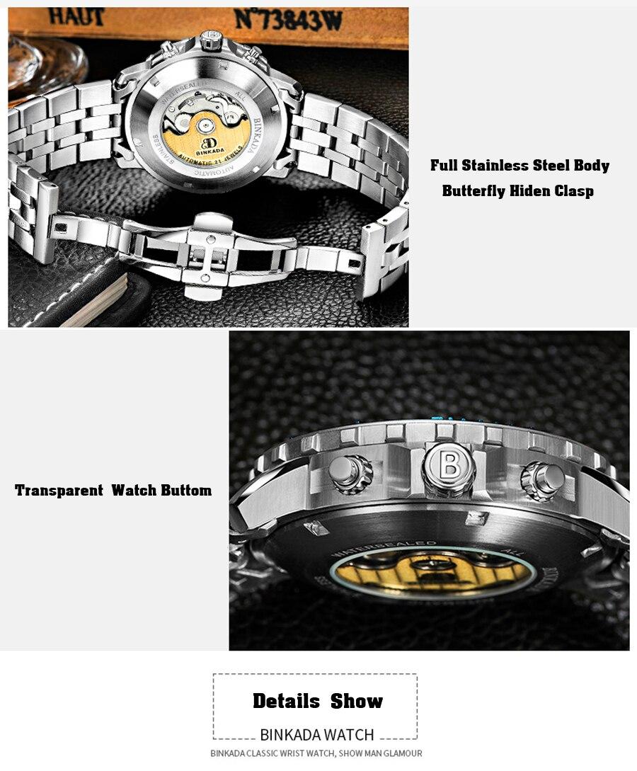 negócios multifunções masculino relógio mecânico casual hombre relogio masculino