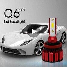 2x Q6 автомобиля светодио дный фар комплект H11 9006 9005 H4 H7 200 Вт 20000LM 6000 К высокое Яркость IP68 Водонепроницаемый светодио дный лампы комплект лампы