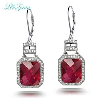L&zuan Drop Earrings For Women 925 Sterling Silver Luxury Fine Jewelry 15.58ct Red Stone Checkerboard Cut Earring Anel E0053-W01