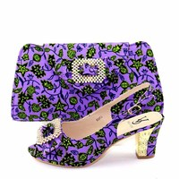 Purple color african aso ebi wedding party ankara shoes and bag new fashion design sandal shoes and clutches wax fabric SB8402 6