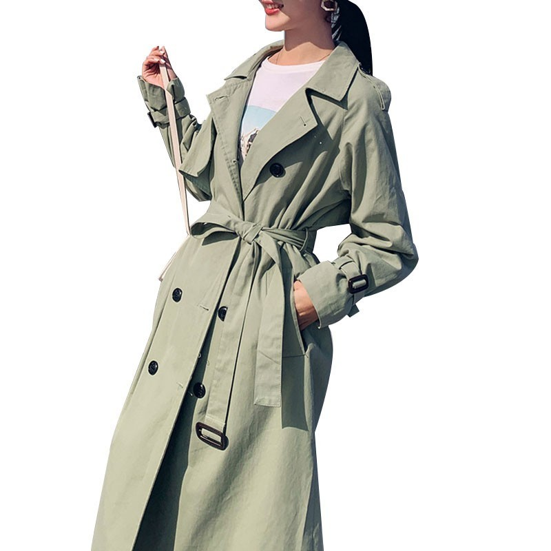 Khaki   Trench   coat Casual women long Outerwear loose clothes for lady belt spring autumn fashion high quality army green FY03