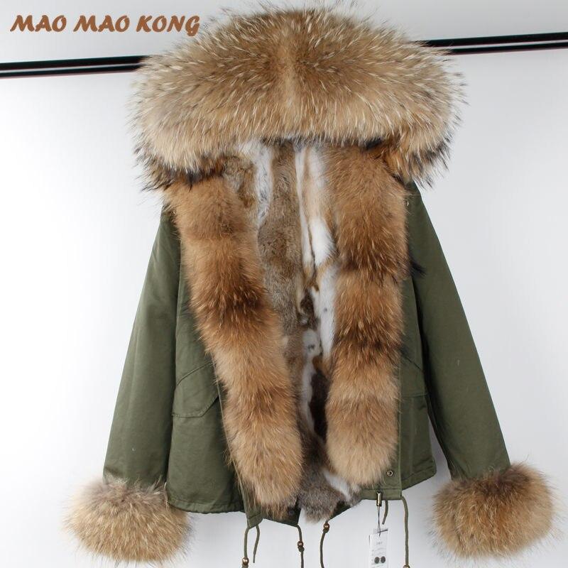 2018 nouvelle mode d'hiver femme manteau parkas grand fourrure de raton laveur collier à capuchon amovible rex de fourrure de lapin doublure marque style Top marque