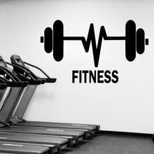 Fitness Gymnasium Wall Sticker Home Decor Gym Sport Decal Weight Lifting Barbells Mural Body Power AY08