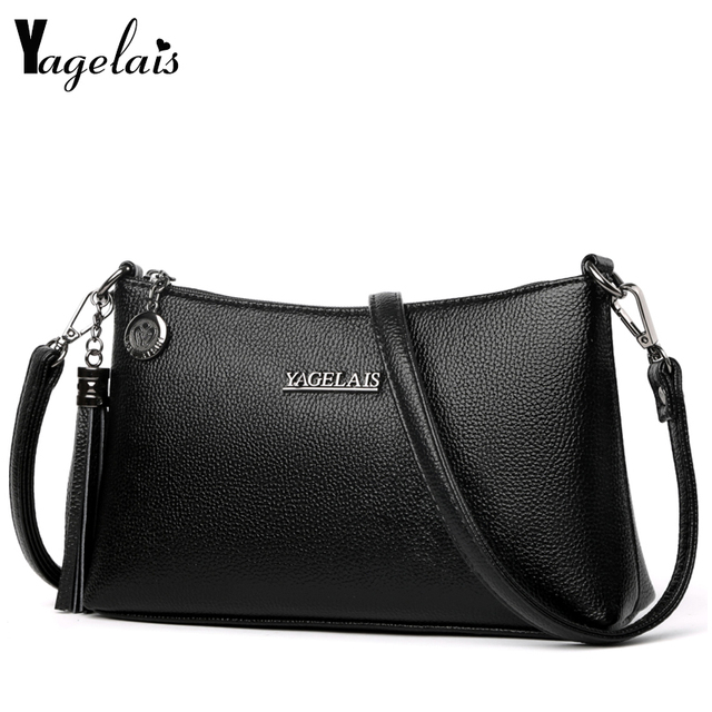 New Fashion Women Clutch Small Single Strap Genuine Leather Shoulder Bag With Tassel On Side Solid