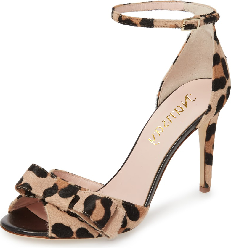 2dff1cfc778 Women s Horsehair Leopard Printed With Bow-knot High Heels Sandals 2018 New  Buckle Strap Plus Size Stiletto Lad Shoes For Party