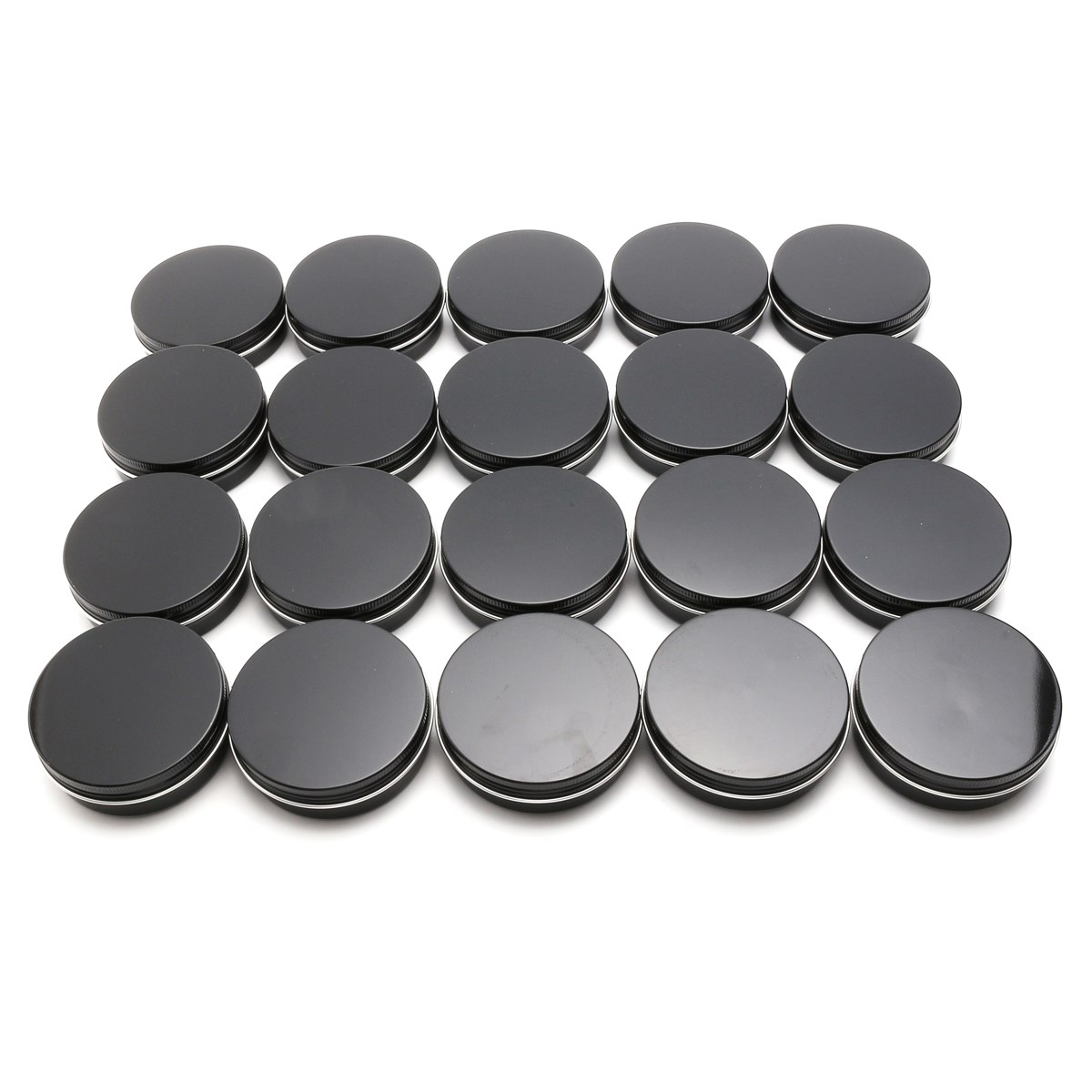 20pcs 100ML Empty Cosmetic Cream Jars Aluminum Black Round Screw Thread Jar Cosmetics Packaging Container Lip Balm Pot Bottle 200pcs x 200g big frosted abs plastic cosmetic packaging bath salt jar with wooden spoon