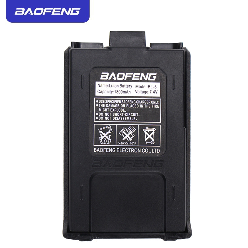 Original Baofeng UV-5R Walkie Talkie Battery Extended 7.4V 1800mAh Li-ion BL-5 Battery For Baofeng UV-5R UV-5RE Black