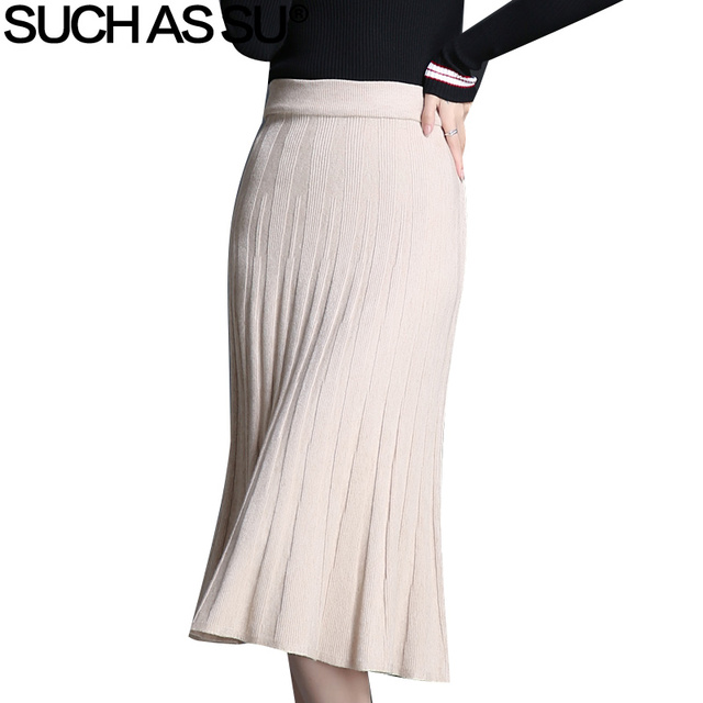 512ed420bf Korean Casual Knit Pleated Skirts Womens Autumn Winter 2018 New Black  Apricot One Size Fold Ladie Elastic Waist Mid Long Skirts