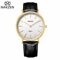 NAKZEN Luxury Brand Gold Women Watches Girl Black Leather Strap Sapphire Quartz Watch Women's Wristwatch Clock relojes mujer