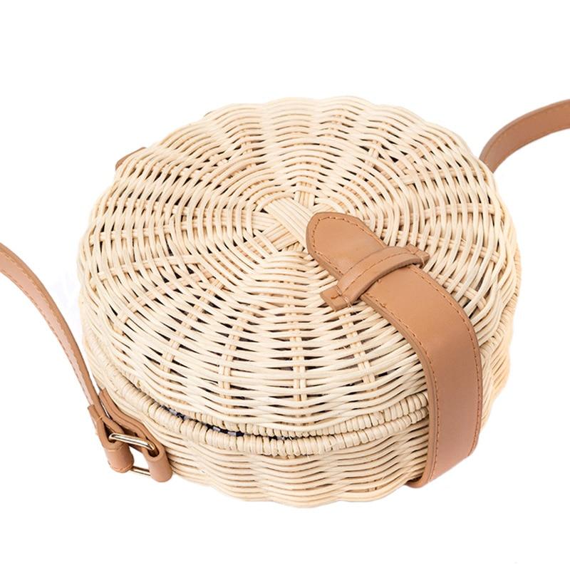 Women Bamboo Bag Bohemian Rattan Female Beach Handbag Circle Vintage Straw Crossbody Handmade Knitted Shoulder Bags SS3013 (10)