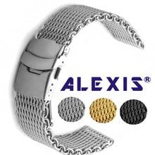 Köpekbalığı örgü paslanmaz çelik tel örgü kol saati bandı moda gümüş saatler kayış yüksek kalite 18mm 20mm 22mm 24mm