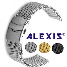 Shark Mesh Correa de reloj de malla de acero inoxidable, para mujer, de plata, de alta calidad, 18mm, 20mm, 22mm, 24mm
